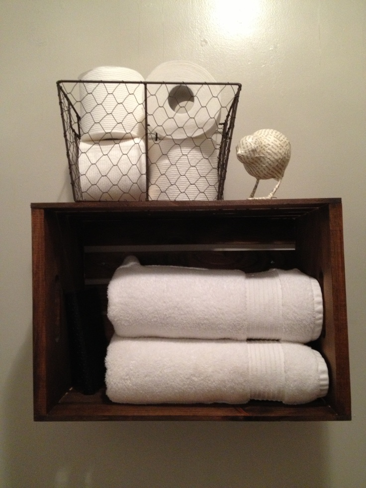Bathroom shelf made from a wooden crate home decorating for Bathroom decorative shelves