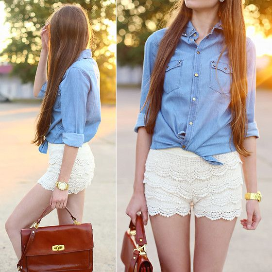 Ariadna Majewska - Oasap White Lace Shorts, Romwe Denim Jacket With Studded Collar - Denim & lace
