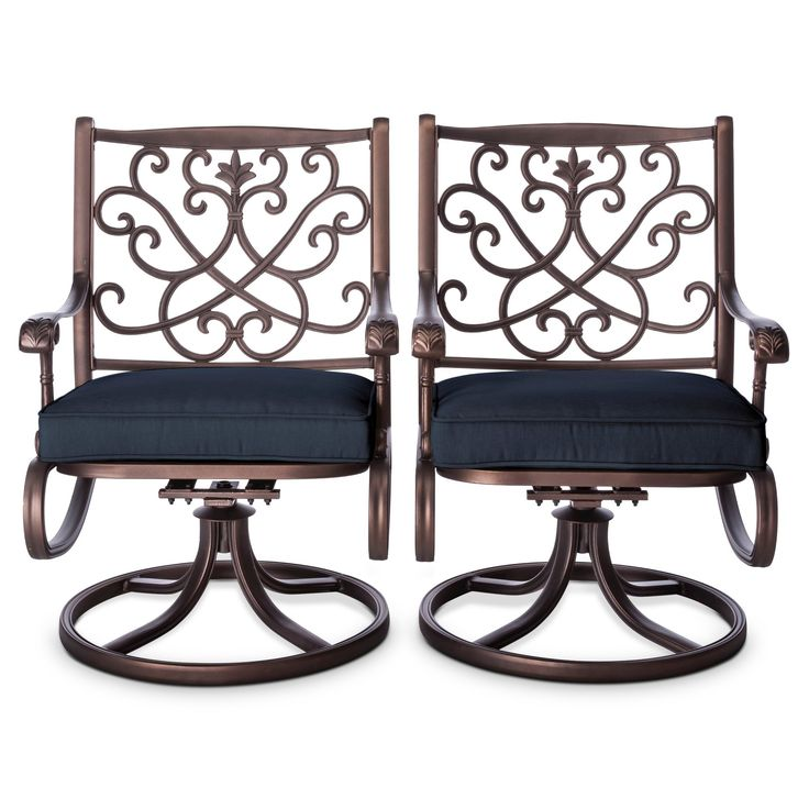 Folwell 2-pk. Cast Aluminum Swivel Dining Chairs Navy (Blue) - Threshold