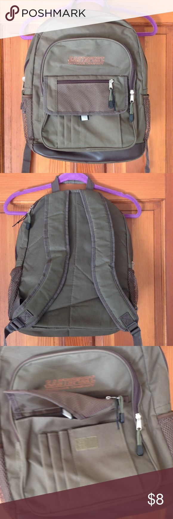 EASTSPORT backpack. Army green backpack with side pockets and four zipper areas. In like new condition! Eastsport Bags Backpacks