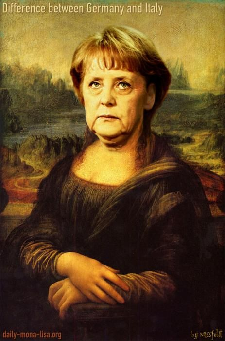 Mona Lisa - The difference between Germany and Italy (Mona Lisa as Angela Merkel) ...