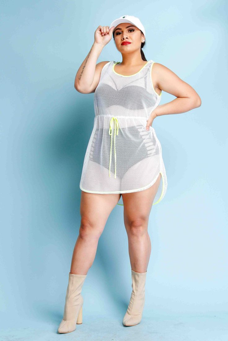Plus Size Neon Trim Fishnet Dress