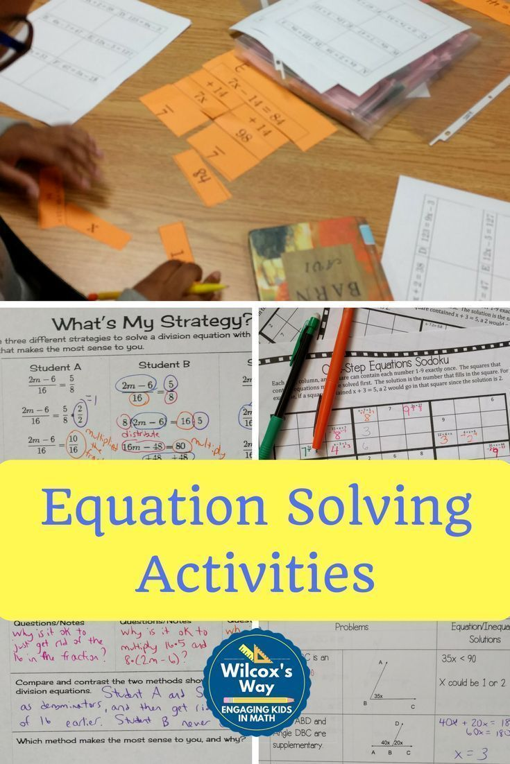 2 step equation card sort equation sodoku games use math practices