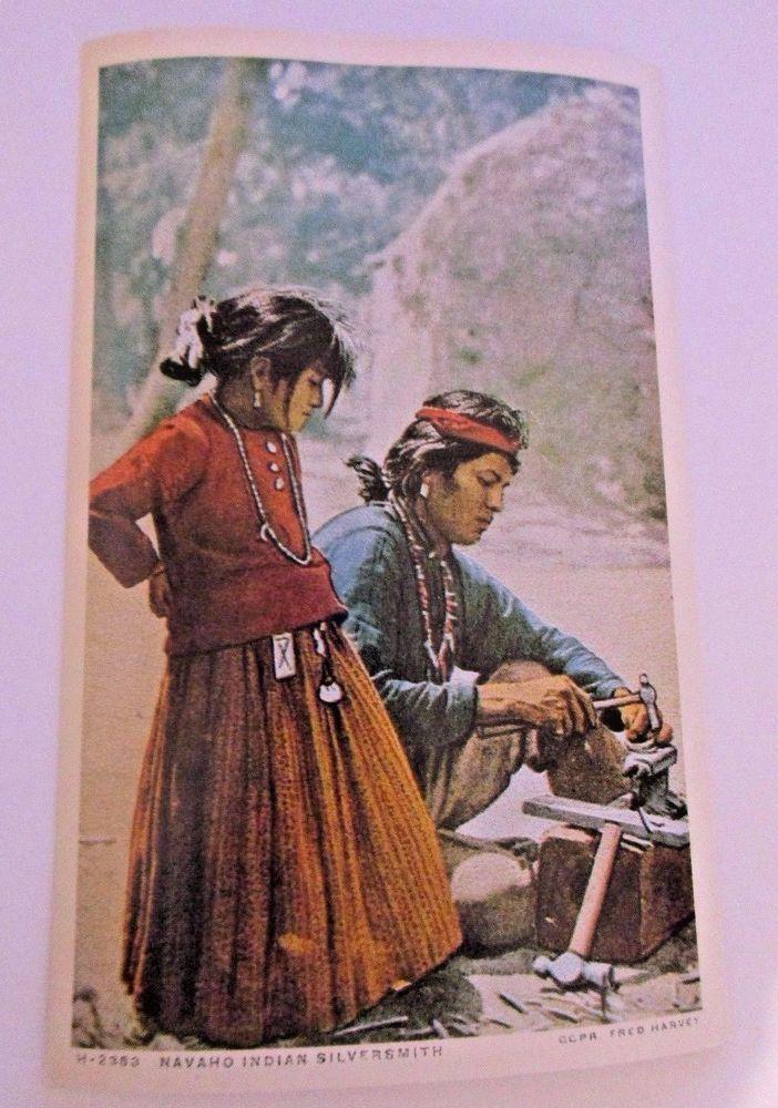 Navaho Silversmith Native American Postcard Vintage