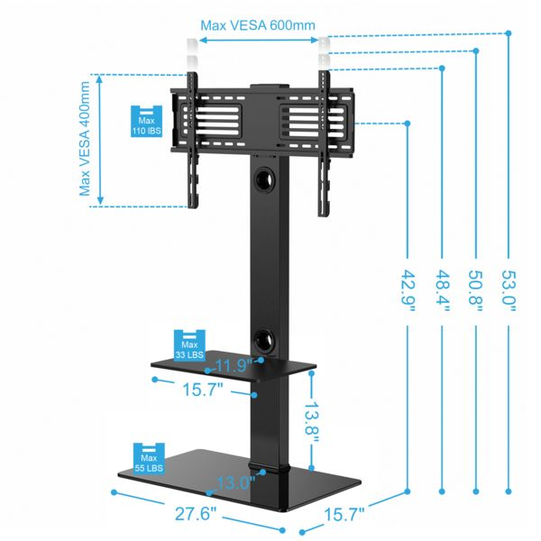 Height adjustable Floor TV Stand with Universal Swivel Bracket Mount and two AV Shelves for 32 to 65 Inches Plasma/LCD/LED TVs--TT207001MB