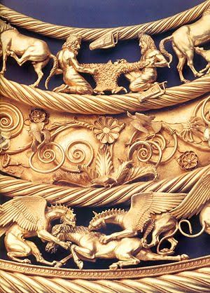 A pectoral from the royal Scythian grave at Tolstaja Mogila kurgan, Ukraine, 400 BC. made of cast gold and probably Greek workmanship, although there are figures in Scythian dress portrayed on the pectoral. Museum of Historic Jewellery of Ukraine