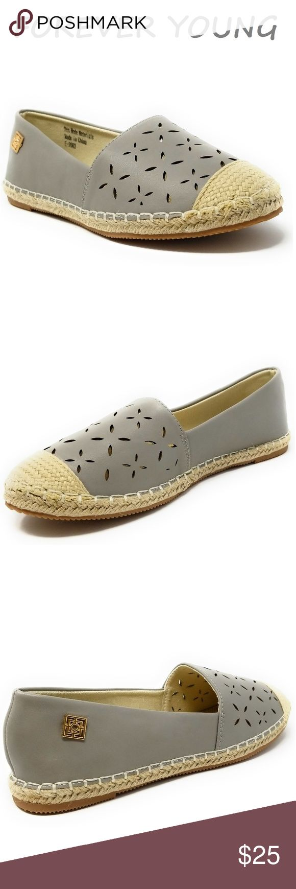 """Women Patterned Espadrille Flats, E-2603, Grey Brand new woman woven espadrille flats in gray with a flower pattern. Diligently crafted from glossy faux leather upper with extra soft insoles and a textured rubberized outer sole for traction. Pretty emblem in the back. Measurements: sizes 6 through 8 are true to size. Sizes 8.5 - 11 run small. Standard 3 """" width. Size 8 measures 9.5 inches, sz 8.5 - 9 3/4"""", sz 9 - 10"""", sz 10 - 10.5"""", size 11 fits a true size 9.5 wearer. Slip it on and make a…"""