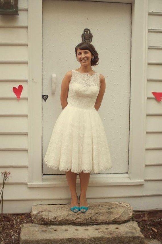 e6001eb04724 1950s 60s vintage lace short wedding dress sleeveless size 8 10 12 14 16 18