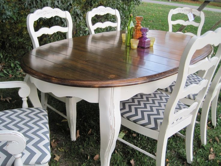 Painted dining table and chairs with wood stained table top and chevron chair cushions!