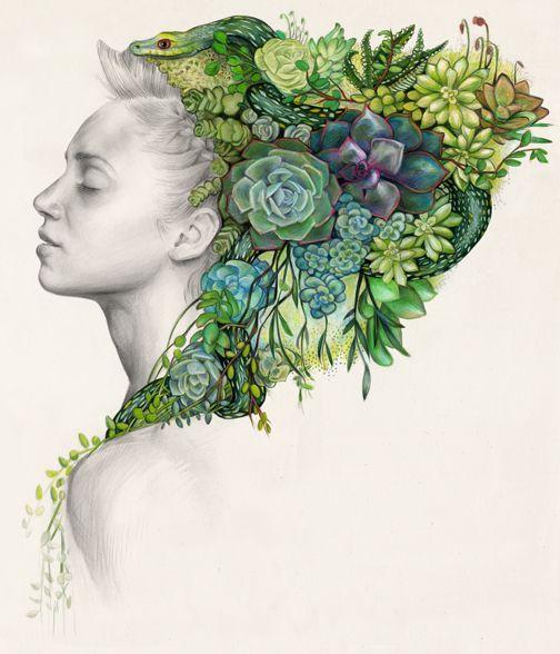"""""""Jade' - Colored pencils Erica Rose Levine - Brooklyn based illustrator  #illustration"""