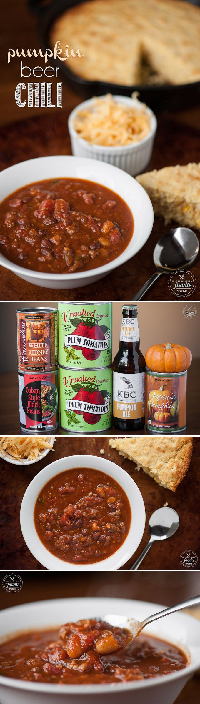 I transformed my popular beer chili by adding the best fall has to offer and created Pumpkin Beer Chili, made with pumpkin ale, pumpkin puree, and cinnamon.