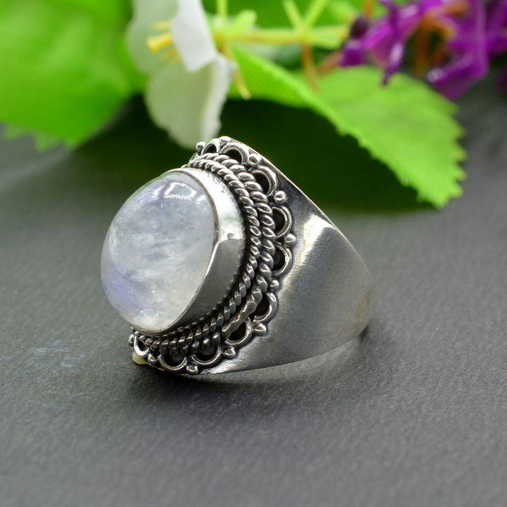 925 Solid Sterling Silver Rainbow Moonstone Gemstone Mens Ring Size 8.75 US R433 #Handmade #Cluster #Party