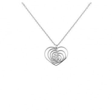 Πρωτότυπο κολιέ από λευκόχρυσο Κ14 με κρεμαστό μενταγιόν από πλάγιες καρδιές τη μία μέσα στην άλλη και διαμάντια | Κοσμήματα ΤΣΑΛΔΑΡΗΣ στο Χαλάνδρι #καρδια #διαμαντια #λευκοχρυσο #κολιε
