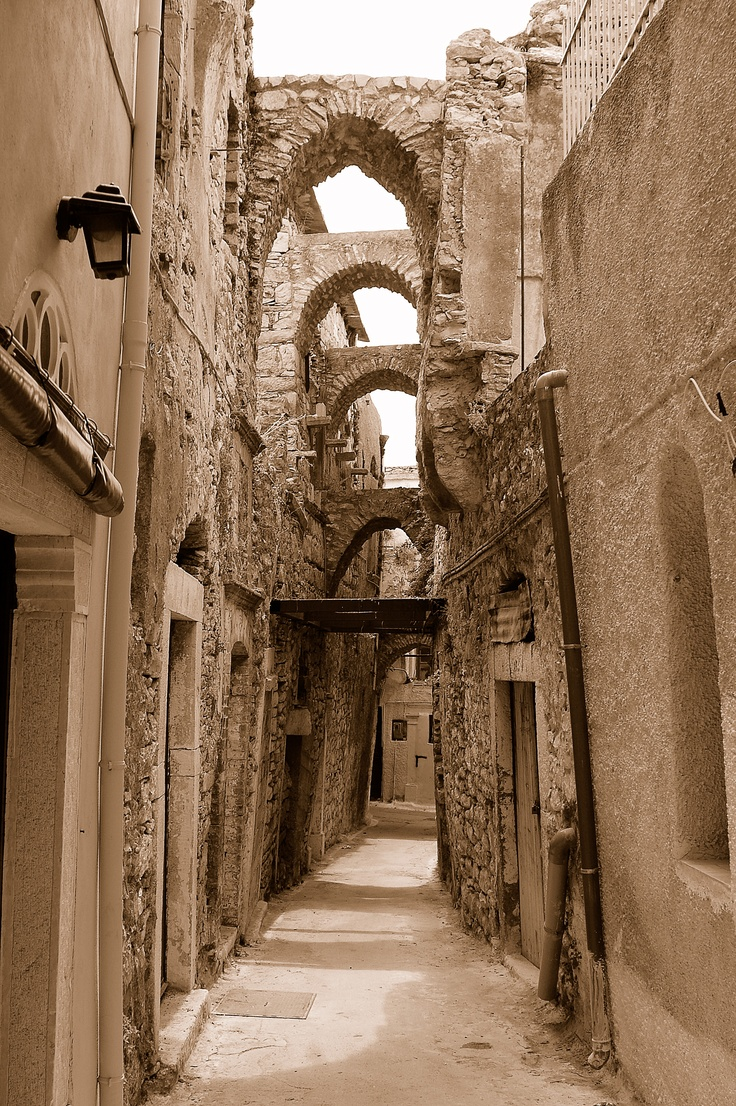 Chios - Greece - narrow street in Mesta village