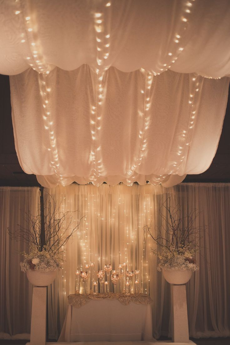 Ceremony Decorations #lighteddrapery #Whimsical #Richardsonwedding