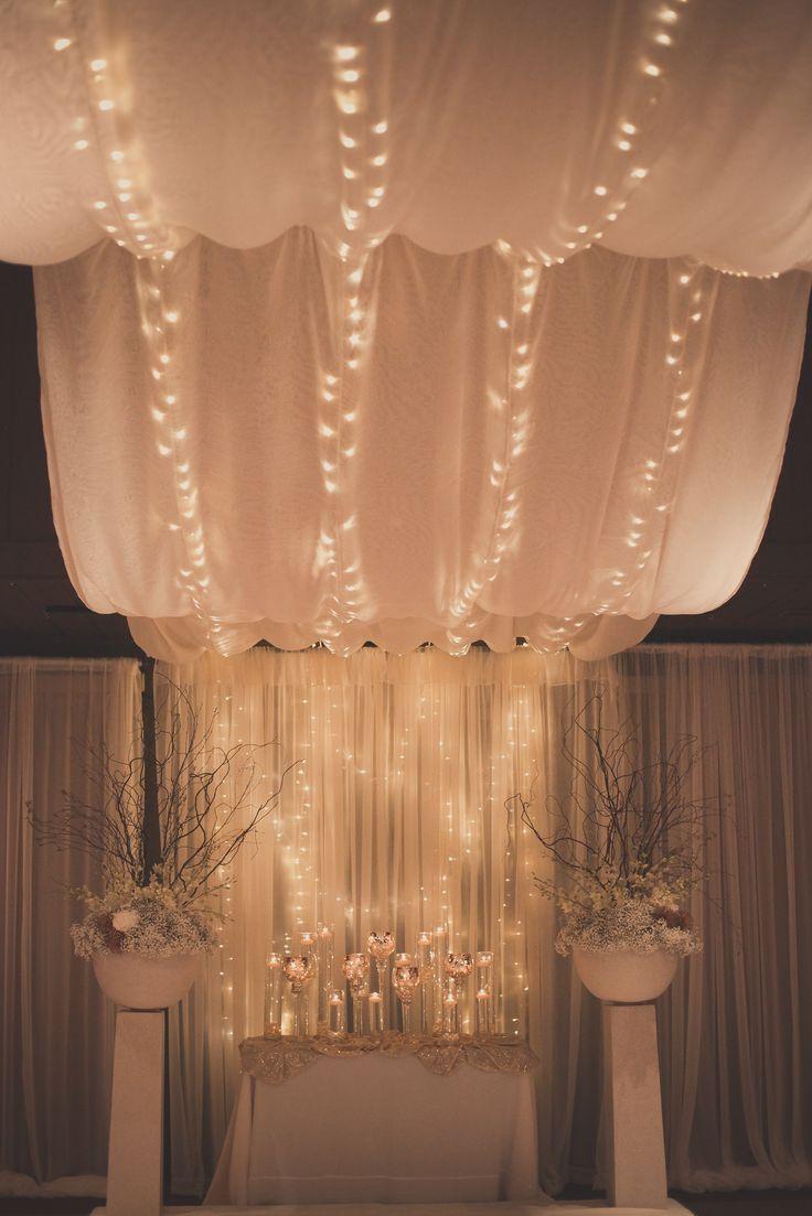 Ceremony Decorations #lighteddrapery #Whimsical #Richardsonwedding