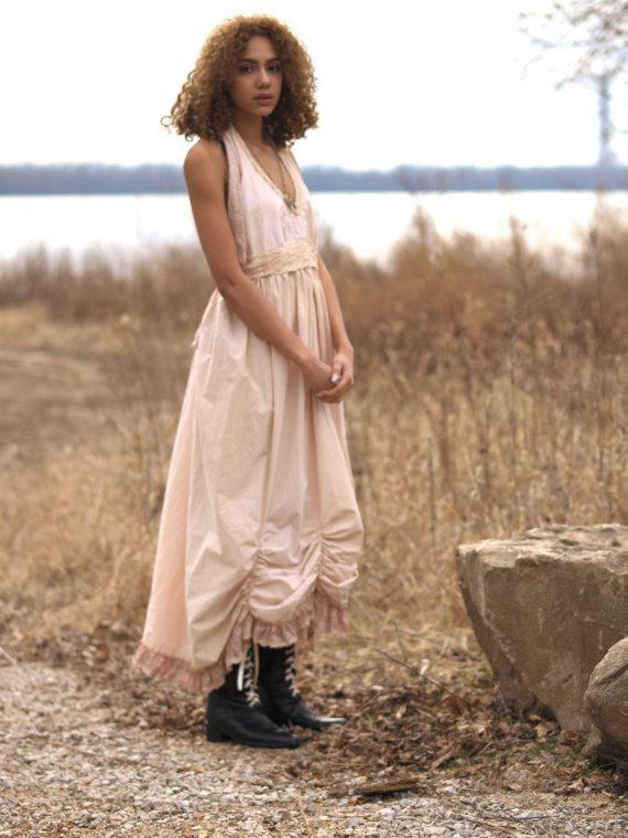Creme Hochzeit Baumwolle Maxi BOHO v-Ausschnitt von TheLookFactory