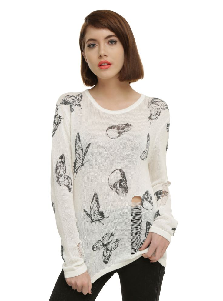 Ivory Skull & Butterfly Girls Sweater | Hot Topic