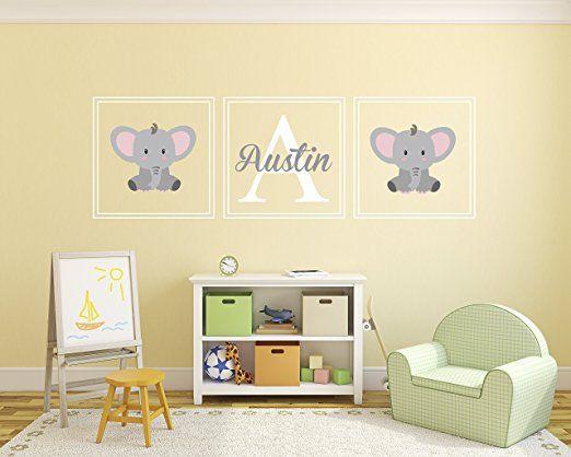 Amazon.com: Custom Elephant Name Wall Decal - Nursery Wall Decals - Nursery Square Set Wall Decor Vinyl: Baby