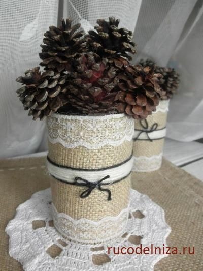 Декор из мешковины: стилизованный букет из шишек » дневник » natai Сайт…