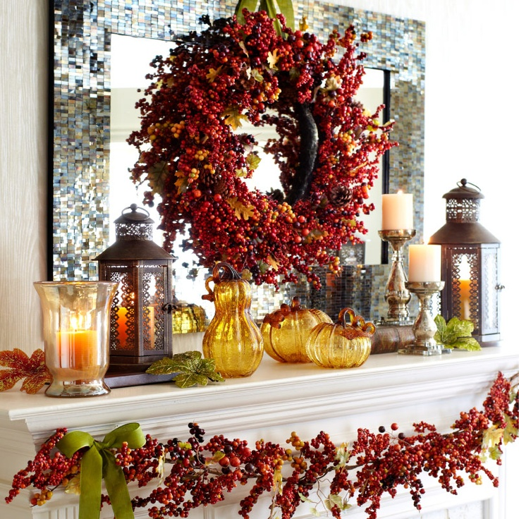 Fall for color again and again with the Faux Fall Berry Wreath, Glass Gourd and Pumpkins from Pier 1