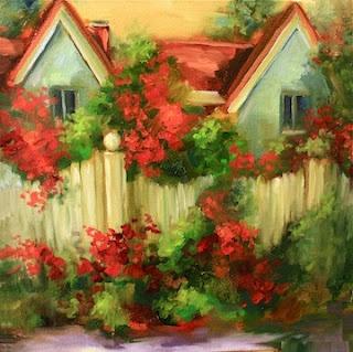 Island Rose Cottage, 12X12, by Nancy Medina Art