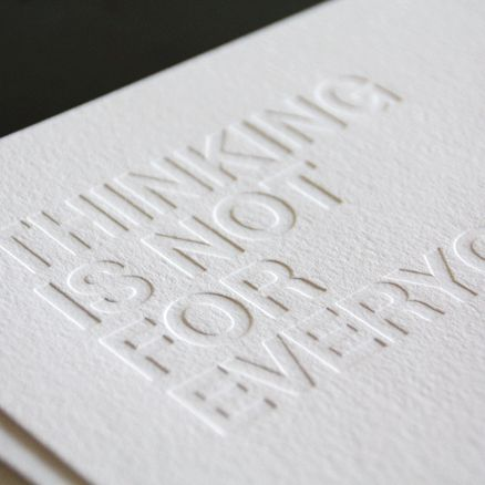Letterpress, embossed white on white, by Just Vandy Print _