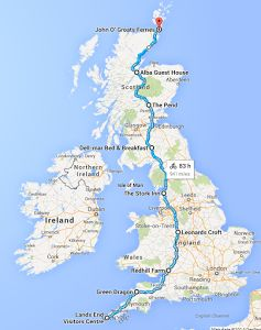 Route Map for the Land's End to John O'Groats. I so want to ride this!
