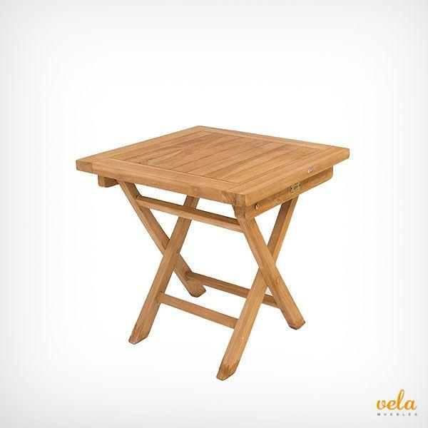 Mesa de jardín teka de madera auxiliar a un precio increíble. No te la pierdas