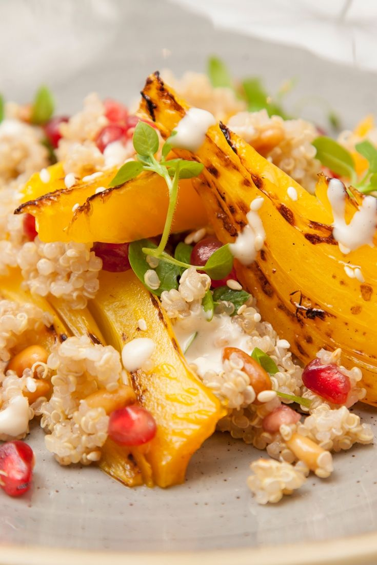 A delicious quinoa salad recipe from chef Shaun Rankin with Middle Eastern flavours from braised fennel and a simple tahini dressing recipe.