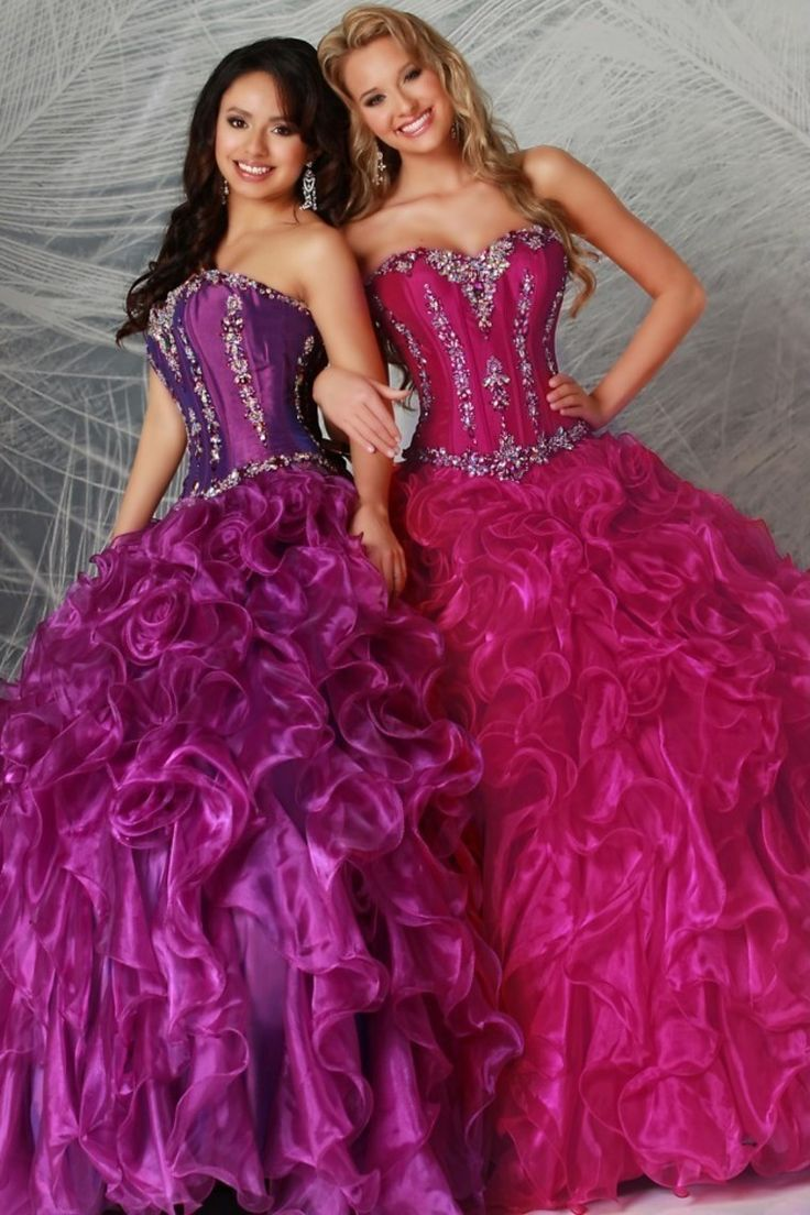 Classical Floor Length Ball Gown Sweetheart Jewel Beaded Bodice Ruffled Skirt Quinceanera Dresses