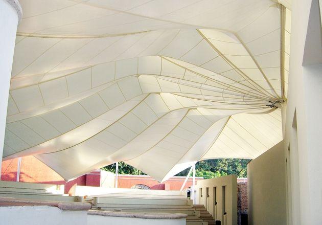 #membrane SALON DE USOS MÚLTIPLES MUNDO CUERVO • Serge Ferrari composite membrane. Interesting bending-active / tension active hybrid