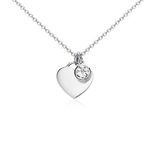 White Topaz Birthstone Heart Pendant in Sterling Silver