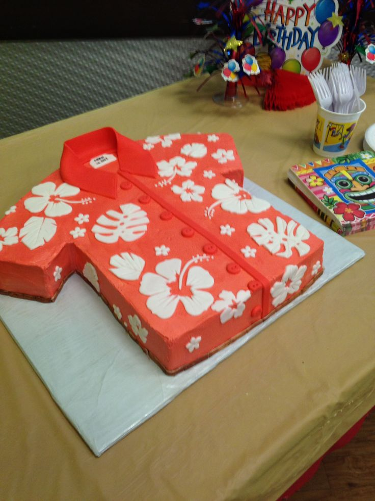 Done by Kupcake Kerrys - buttercream Hawaiian shirt cake with fondant decorations https://www.facebook.com/kupcakekerrys