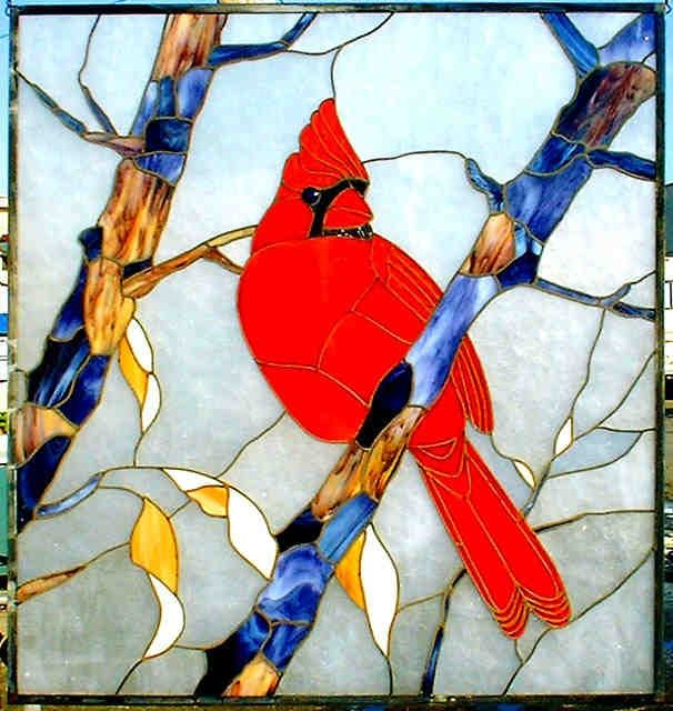 stained glass cardinal fine art   Stained Glass Cardinal in tree