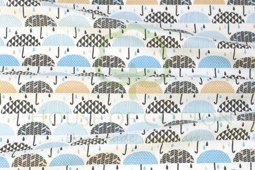 Bawełna błękitno-karmelowe parasolki