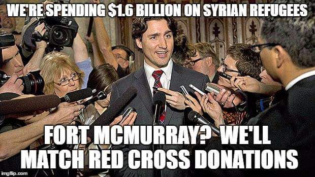 Meme of Canadian PM insisting taxpayers give more to disaster replied - write your Local member of parliament and get Trudeau out ASAP.