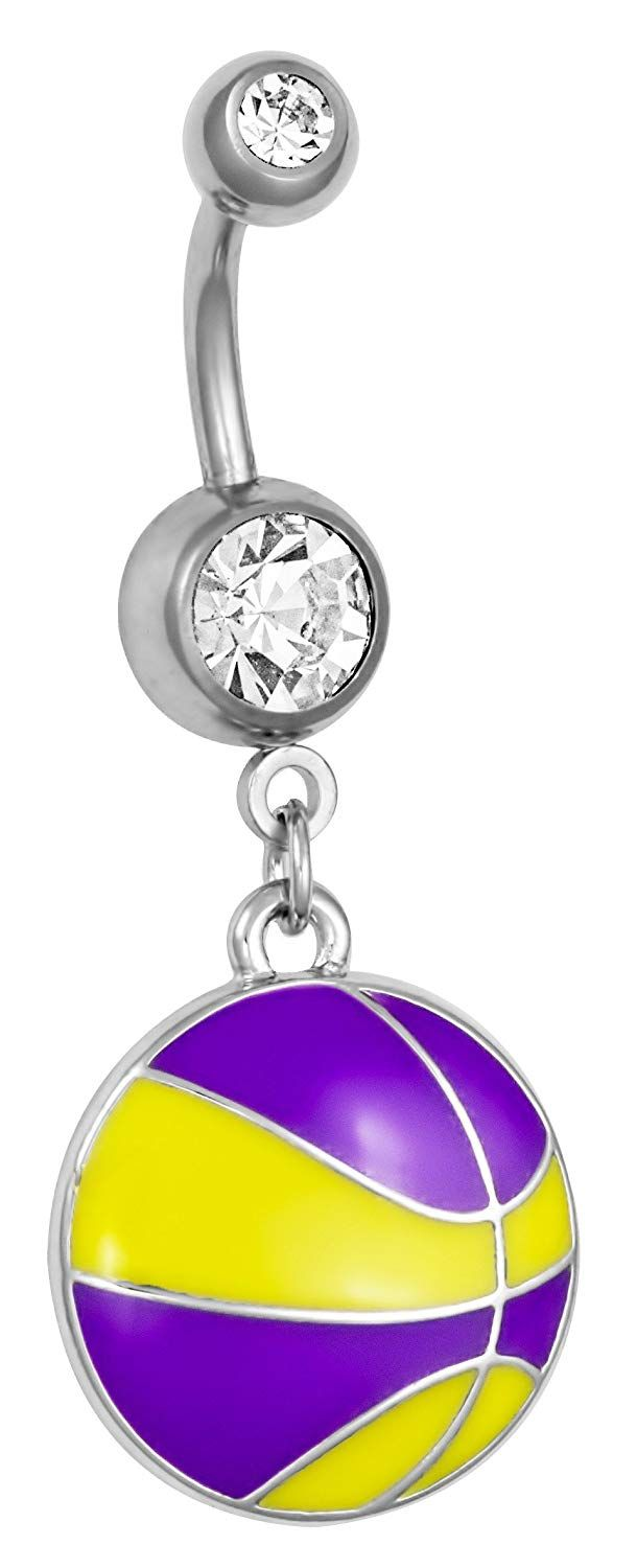 Yellow nose piercing  Surgical Steel Yellow and Purple Basketball Double Jeweled Dangle