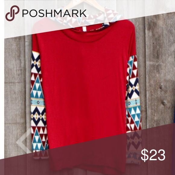 """Red Aztec Women's Jersey Hoodie Sweater This is a red and Aztec  jersey sweater with hoodie. Very soft and comfortable.  Boutique-style. Size: Large. Made of 95% Rayon 5% Spandex Cont. 100% Polyester. Dry Clean. Made in U.S.A. NEW Without TAGS. From smoke and pet free home. Approx MEASUREMENTS  Chest: 38"""". Waist: 35"""". Sleeve: 23"""". Length: 25"""". Rachel Kate Sweaters"""