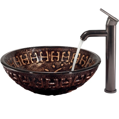 vigo aztec vessel sink in mosaic browns with oil rubbed bronze faucet vgt169