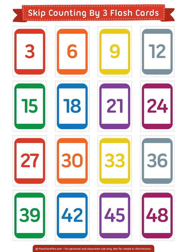 Free printable skip counting by 3 flash cards. Download them in PDF format at http://flashcardfox.com/download/skip-counting-by-3-flash-cards/