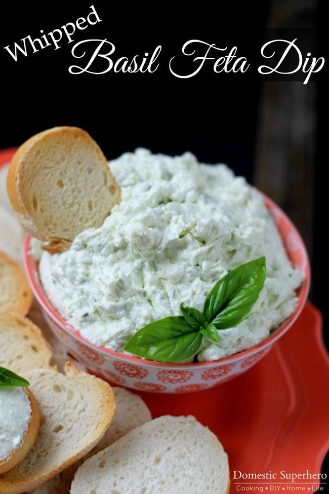 Whipped Basil Feta Dip - the BEST party dip!