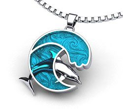 Dolphin necklace and part  of our dolphin jewelry collection. Free U.S. Shipping, made in the U.S.A.