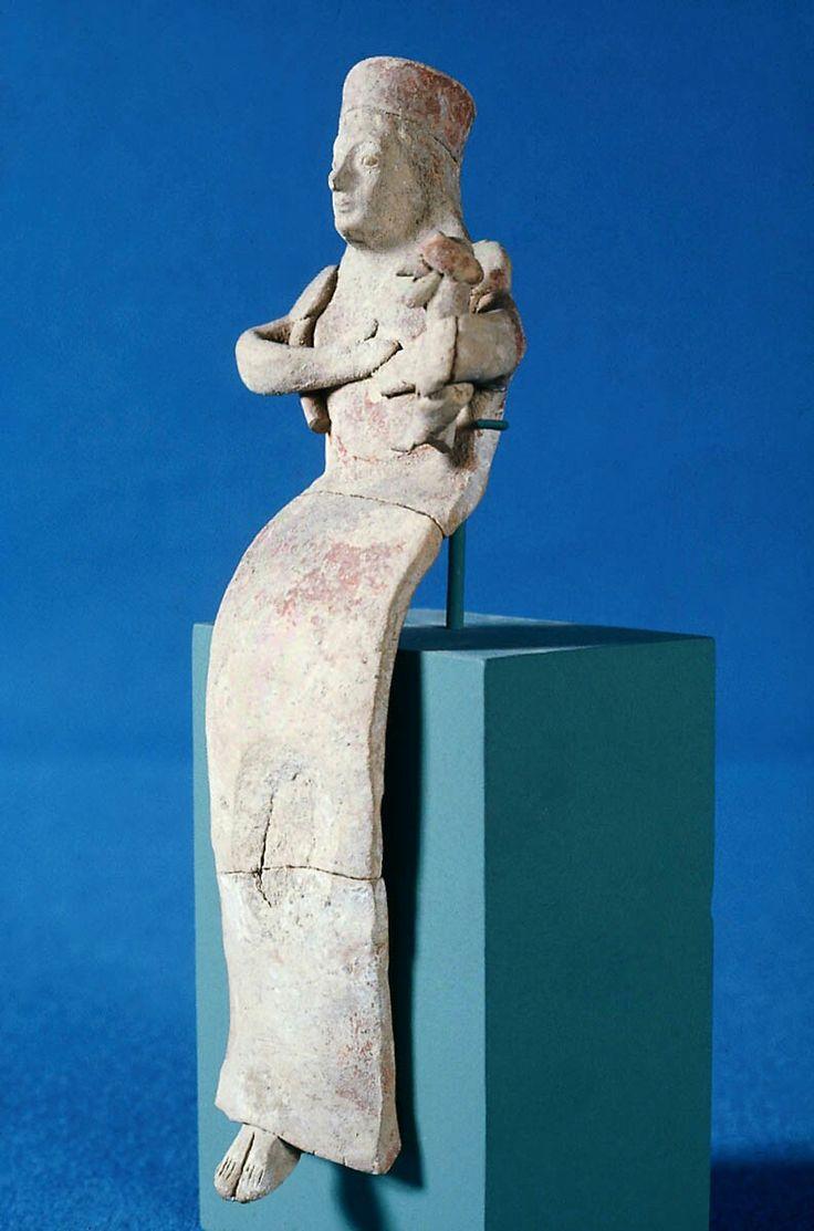 Seated terracotta goddess kourotrophos. Greek. Archaic Period. Early 6th century B.C. | The Museum of Fine Arts, Boston