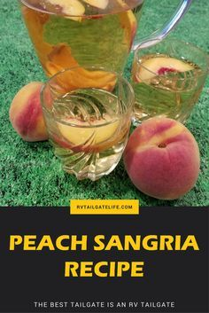 Peach sangria is perfect for warm weather tailgating! So easy to make!   Sangria   Recipe   Drinks   Wine