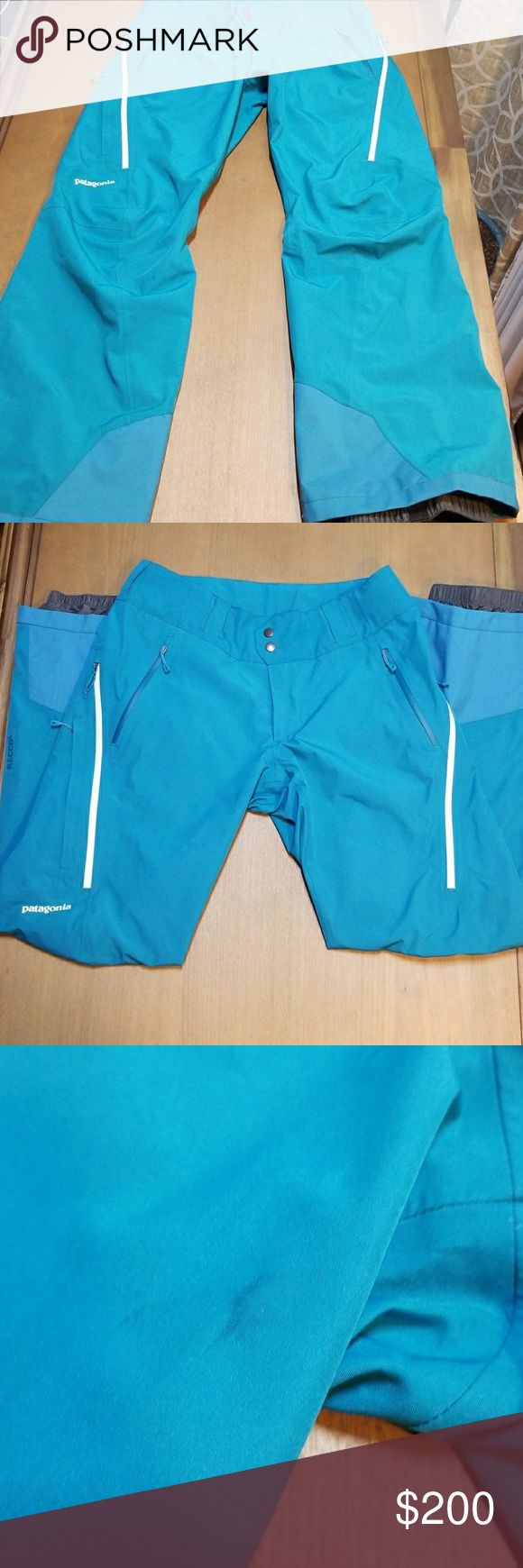 Patagonia womens powder bowl snow pants medium Euc, a few minor stains but no rips or anything that noticeable. Style #31431 Beautiful elwha blue. Size medium. Patagonia's tried-and-true ski or snowbard pantsGore-Tex defends against dumping snow and high winds Brushed tricot lining provides subtle warmthWater-resistant zippers help keep pocket contents dry Articulated knees have a more natural fit while skiingIntegrated gaiters form a snow-tight seal around bootBuilt-in reflector may help…