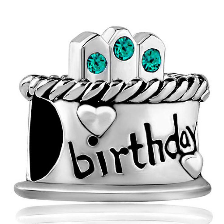 December Birthstone Birthday Cake Blue Crystal Candles Gift Holiday Beads Pandora Chamilia Compatible | Charmsstory.com #birthday #charms #pandora #beads #cake #birthstone #december #candle