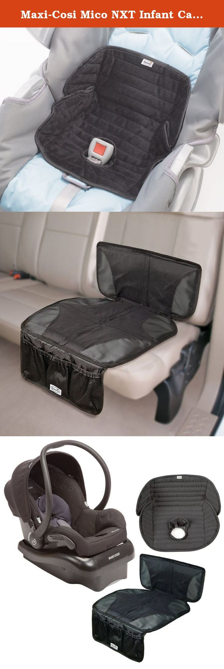 Maxi-Cosi Mico NXT Infant Car Seat with Car Seat Mat & Deluxe Car Seat Protector, Total Black. The Maxi-Cosi Mico NXT takes the classic Mico to the next level. The Maxi-Cosi Mico NXT infant car seat's lightweight design makes transferring from your car to either a Quinny or Maxi-Cosi stroller a breeze. Now features new release from base mechanism and adjustable base. No need to worry about car seat marks with the Car Seat Mat. Protect your seats from being damaged with this durable mat…