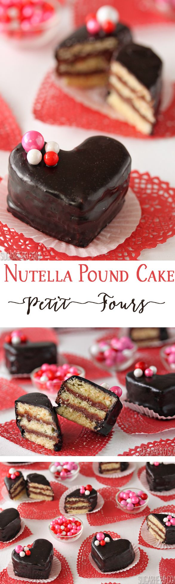 Nutella Pound Cake Petit Fours - easy and beautiful Nutella mini cakes, perfect for Valentine's Day! | From SugarHero.com