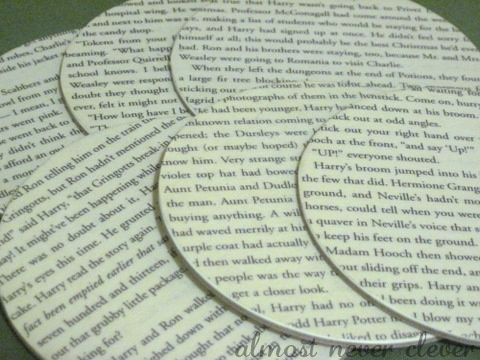 How to make coasters out of book pages.